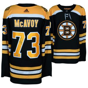 Autographed Boston Bruins Charlie McAvoy Fanatics Authentic Black Adidas Authentic Jersey