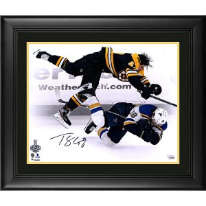 Autographed Boston Bruins Torey Krug Fanatics Authentic Framed 16″ x 20″ 2019 Stanley Cup Final Game 1 Check vs. St. Louis Blues Photograph