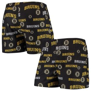Boston Bruins Concepts Sport Fairway All Over Print Boxer Shorts – Black