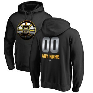 Boston Bruins Fanatics Branded Personalized Midnight Mascot Pullover Hoodie – Black