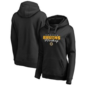 Boston Bruins Women's Iconic Collection Script Assist Plus Size Pullover Hoodie – Black