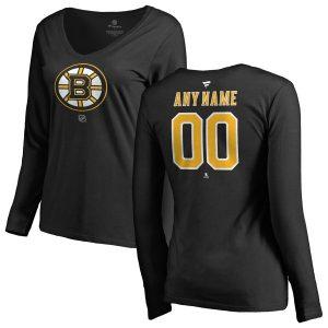Boston Bruins Women's Personalized Team Authentic Long Sleeve V-Neck T-Shirt – Black