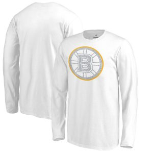 Boston Bruins Fanatics Branded Youth White Out Long Sleeve T-Shirt – White