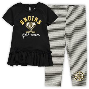 Boston Bruins Girls Toddler Fly on Ice Raglan Top & Leggings Set – Black/Gray