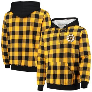 Boston Bruins Large Check Sherpa Flannel Quarter-Zip Pullover Hoodie – Black/Gold