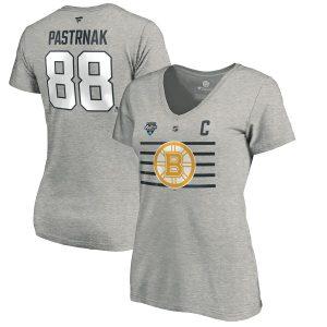 David Pastrnak Boston Bruins Women's Steel 2020 NHL All-Star Game Name & Number V-Neck T-Shirt